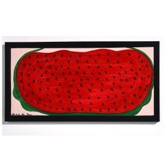 """Watermelon"" Iconic, Folk Art, Colorful, Acrylic on Board"