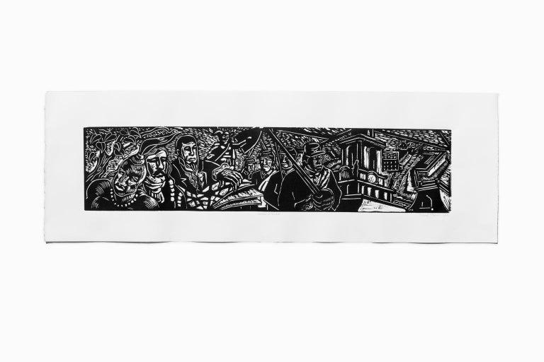 "Hubert Massey Figurative Print - ""History of Detroit"" Linoleum Cut, Black Ink, African American, Mural Style"