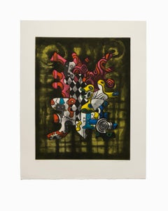 """""""Untitled III"""", Abstract Aquatint Color Etching Lithograph, Signed and Numbered"""