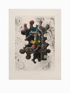 """""""Untitled II"""", Abstract Aquatint Color Etching Lithograph, Signed and Numbered"""