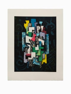 """""""Untitled IV"""", Abstract Aquatint Color Etching Lithograph, Signed and Numbered"""