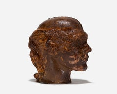 Life-Sized Ceramic Blindfolded Head, Russet-Colored