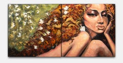 """""""The Butterfly Effect"""" Acrylic on Canvas, Diptych, Colorful, Female Nude"""