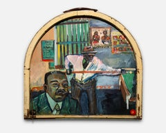 """Pool Hall"", Acrylic & Found Objects, African-American Outsider Artist"