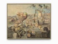 """""""Still Life in Landscape"""" Oil on Canvas, Pastel Colors, Fruit & Containers"""