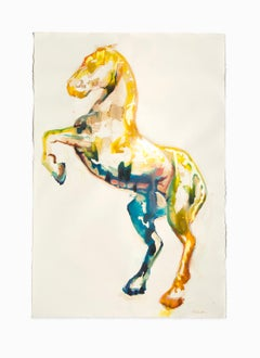 """""""Yellow Horse II"""", Large Mixed Medium, India Ink and Wine on Deckle BFK Paper"""
