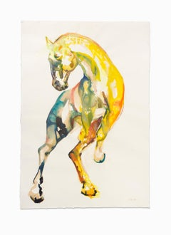 """""""Yellow Horse I"""", Large Mixed Medium, India Ink and Wine on Deckle BFK Paper"""