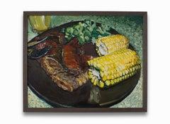 """Pork Chop and Corn"" Acrylic on Canvas, Colors, Still-Life"