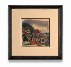 """Untitled (Dock Scene)"" Watercolor on Paper, Local Scene, Buildings, Water"