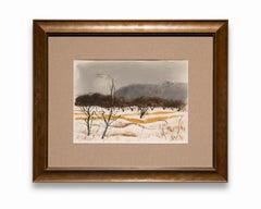 """Untitled (Winter Scene)"" Watercolor on Paper, Winter Landscape, Signed"