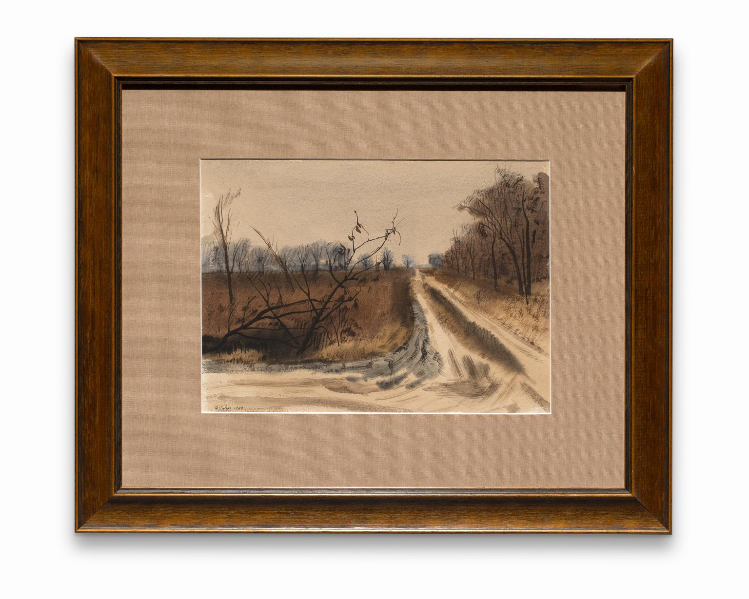 """""""Untitled"""" (Winter Road), Watercolor on Paper, Winter Scene, Signed & Dated"""