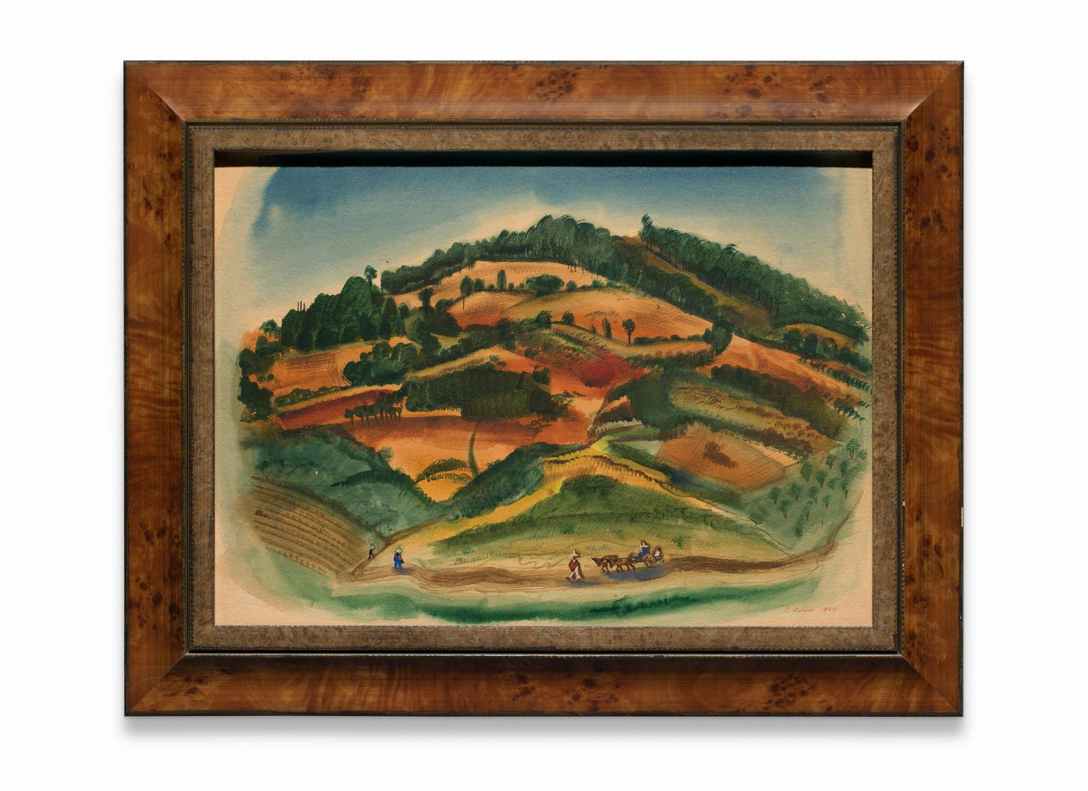 """""""Red Hills Near Patzcurao"""" Watercolor on Paper, Landscape, Signed & Dated"""