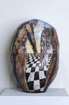 """Conversations"" Thrown Earthenware, Figures in Perspective Scene & Glazed Colors"