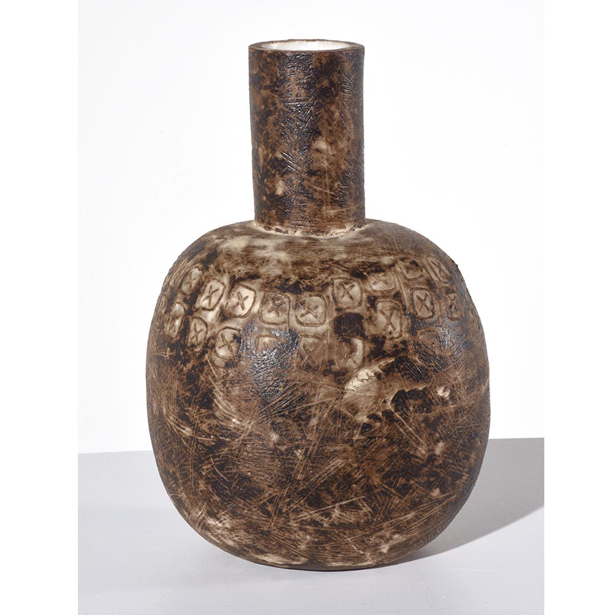 """""""Comitan"""" American Modern Stoneware Vessel Earth Tones"""