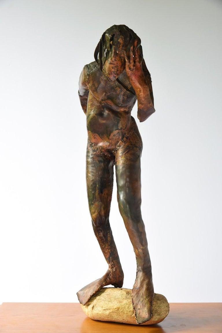 "Reinhoud d'Haese Figurative Sculpture - ""Ecoutez"" Sculptural Mythical Figure in Copper & Stone & Signed"