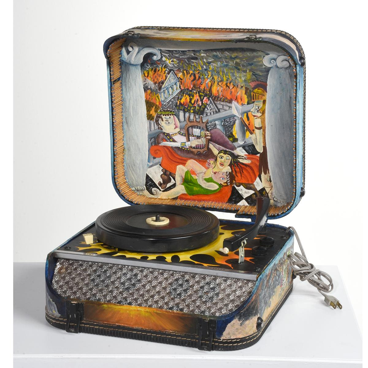 """""""Record Player"""" Sculptural & Painted Symphonic Record Player with Speakers"""