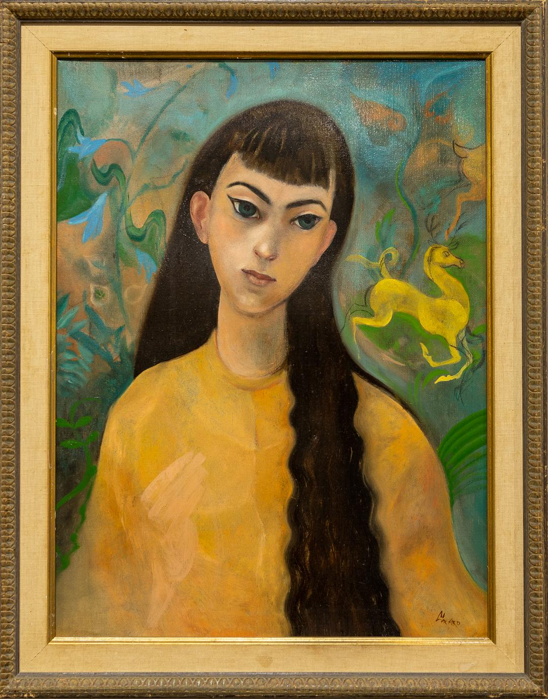 """""""Portrait of a Woman"""" Oil Portrait of Young Woman w/Black Hair & Colorful Ground"""