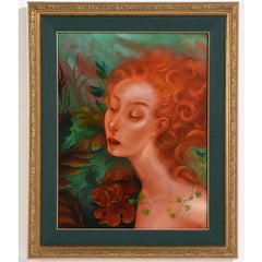 """Rima""  Female Nude Portrait Oil Painting in Pre-Raphaelite Manner"