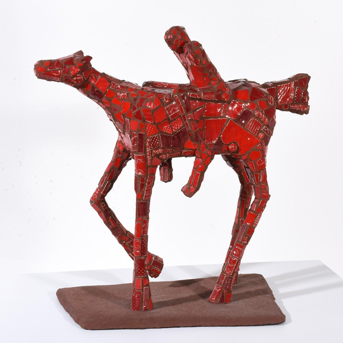 """""""Person on a Horse"""" Sculptural Human Figure & Horse with Red Crackle Surface"""