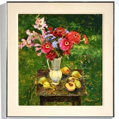 """Still Life with Fruit & Flowers""  Outdoors with Table & Flowers in Colors"