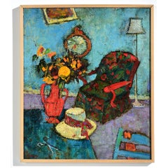 """Red Chair"" Watercolor of Interior with Flowers & Chair in Blue & Red"