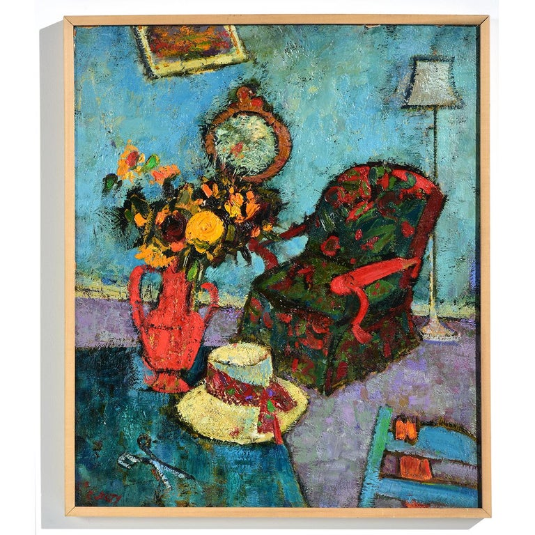 """Richard Jerzy Interior Painting - """"Red Chair"""" Watercolor of Interior with Flowers & Chair in Blue & Red"""