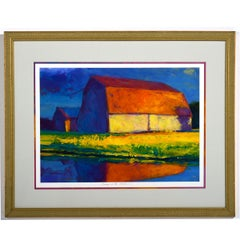 """Evening in the Garden""  Bucolic Landscape with Barn in Blended Primary Colors"