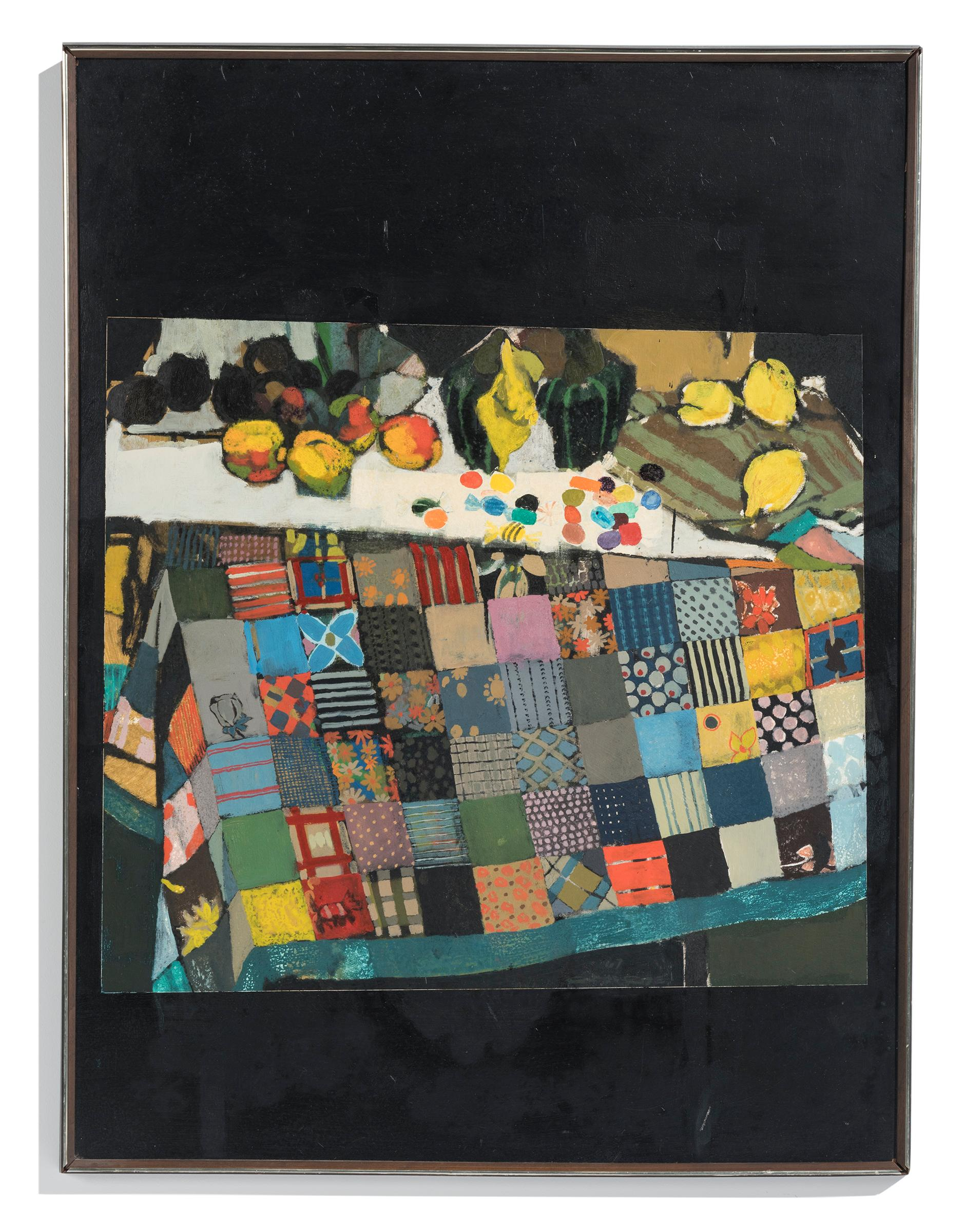 """""""Squares and Things"""" African-American Painting of Colorful Quilt & Still Life"""
