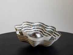 """Shekinah Glory"" Sculptural Permanent Nested Bowls of Striped & Fluted Porcelain"