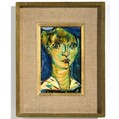 """""""Head of Woman"""" Youthful Female Expressionist Oil Painting"""