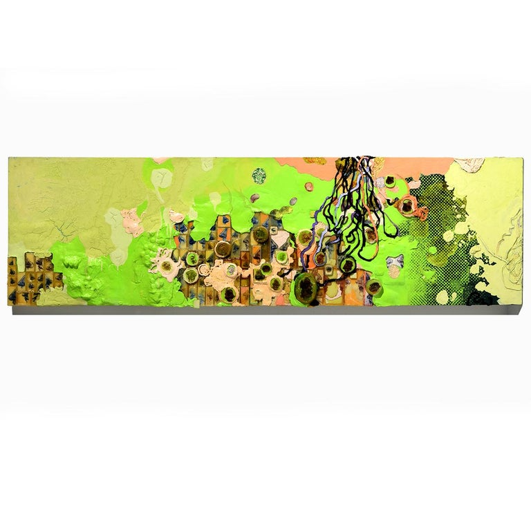 """Cory Pohlman Abstract Painting - """"Green Frosting""""  Green Abstract with Thick Impasto Like Pastry Frosting"""