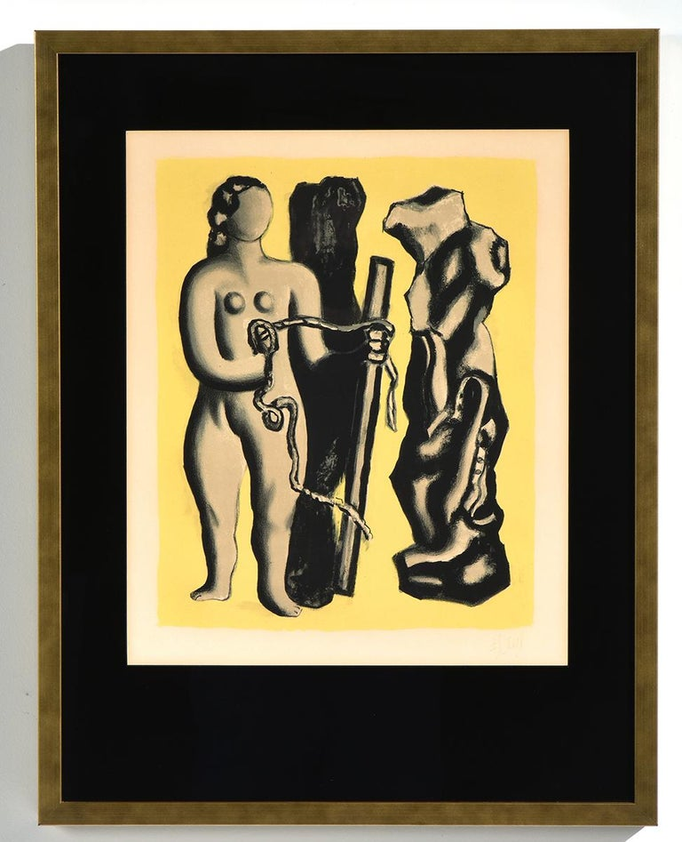 "Fernand Léger Nude Print - ""Femme sur fond juane"" Abstract Lithograph with Colors and Nude Female"