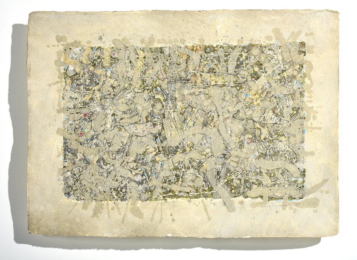 """Animal Spirit I"" Expressionist Colors Mythical Animal Spirits on Handmade Paper"