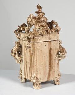 """""""Ceramic Box with Lid""""  Stoneware Cream Glaze w/ Organic Attachments"""