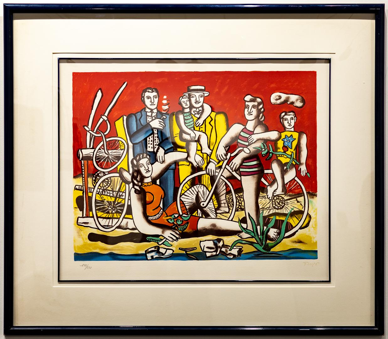 """""""Les Loisirs Sur Fond Rouge"""" Lithograph Red Blue Yellow and Green"""