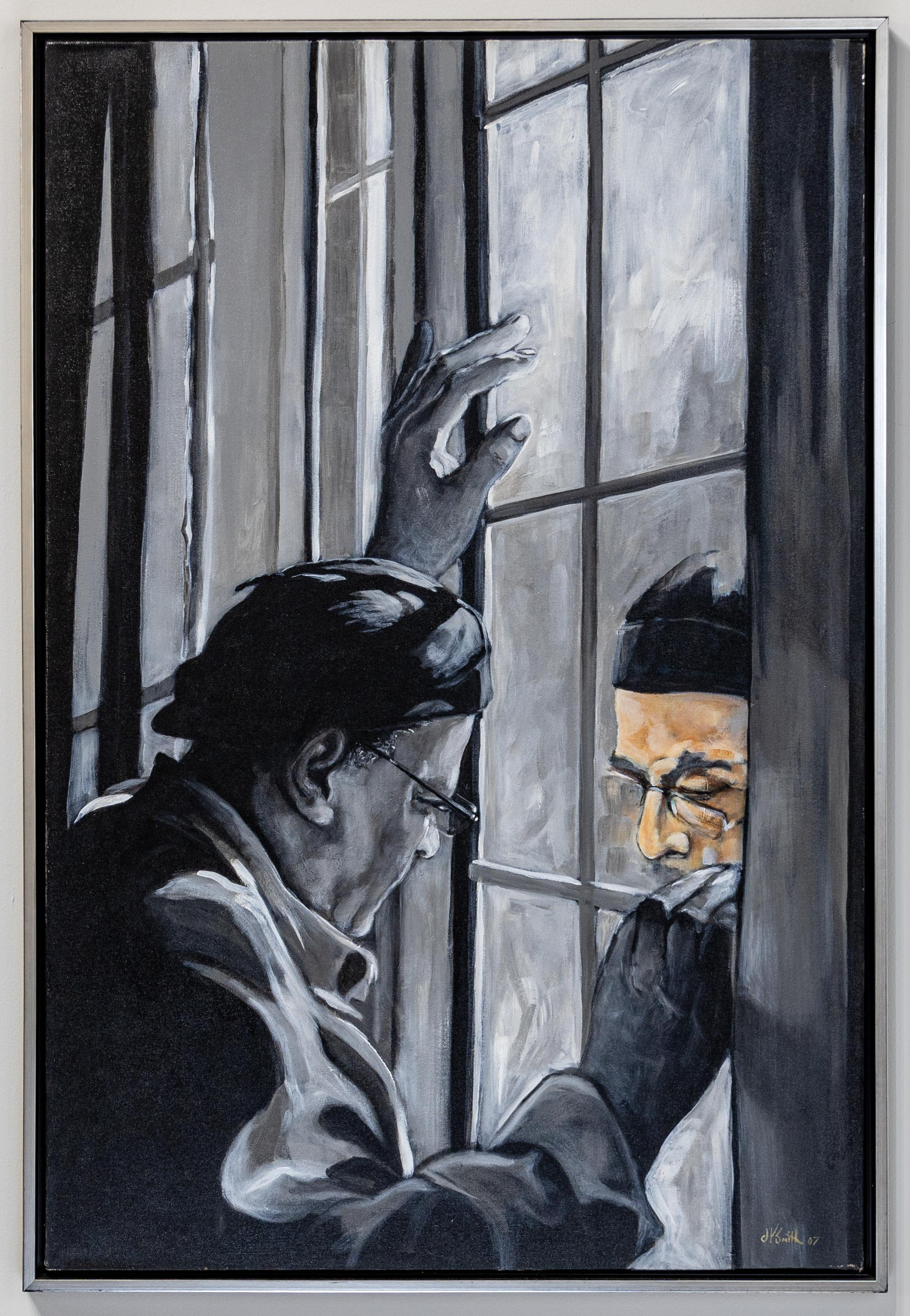"""""""I See Color"""" Figurative Acrylic on Canvas Looking Out Window Black White Color"""