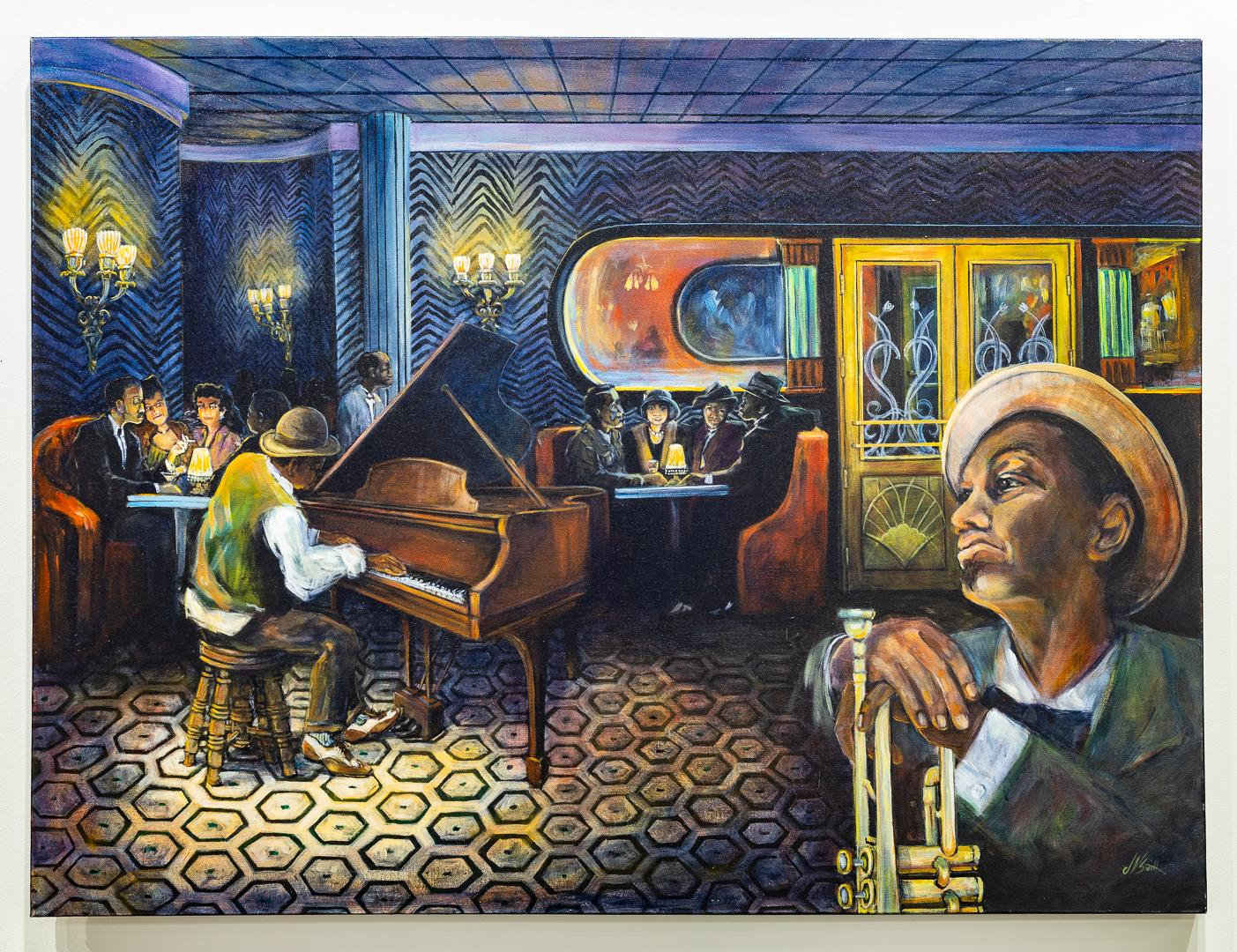 """""""The Weary Blues"""" Acrylic Painting of Interior w/Patrons and Music Colorful"""