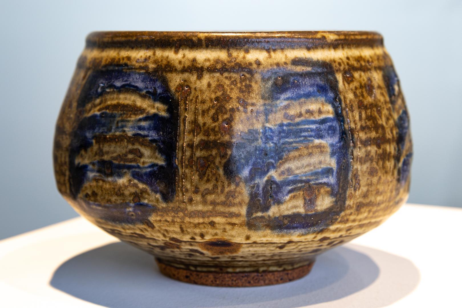 """Salt Glaze Stoneware Ceramic with Blue Design"" Otto & Vivika Heino Ceramic Bowl"