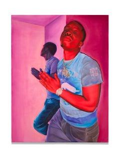 """Big Kyle"" Portrait, Blues, Reds, Pinks, Acrylic, Signed"