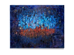 """Beyond the Wall""  Oil on Canvas, Brilliant Blues, Red, Abstract Expressionist"