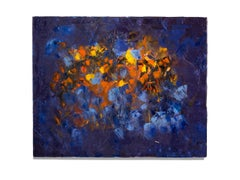 """In the Beginning"" Abstract, Brilliant Colors of Blue, Red, Yellow, Oil"