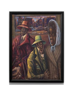 """""""Public Aid"""" Oil Painting, Figurative, Regionalism, Poverty, Wealth"""