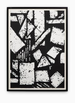"""""""Untitled #6"""" Hand Printed Black & White Lithograph from Set """"Six Prints 1972"""""""