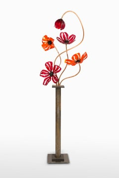 """Poppies"", Deep Red and Orange Glass, Vase,"