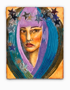 """""""Muse of Deliberation"""", Encaustic, Oil, and Paper on Wood"""