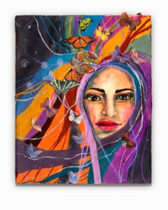 """""""Muse of Transition"""", Encaustic, Oil, and Paper on Wood"""