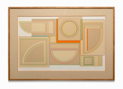 """Cameroon"" Silk Screen Serigraph, Geometric Abstract, Pop-Art, Colors on Buff"