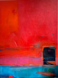"""""""In Between This World"""" - Kate Trafeli, 21st Century, Abstract Painting, Red"""