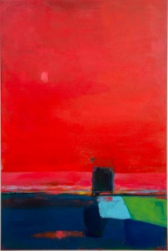 """""""Red + Door (Untitled)"""" - Kate Trafeli, 21st Century, Abstract Painting, Red"""