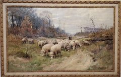 Classic Dutch Landscape of a Shepherdess And Flock of Sheep
